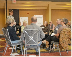 Discussion betwen teacher and students at mediation training